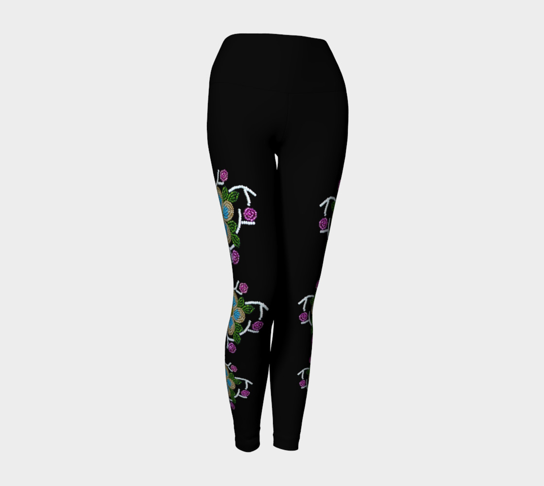 Ojibwe Floral Beaded Yoga Pants - Authentic  preview #1