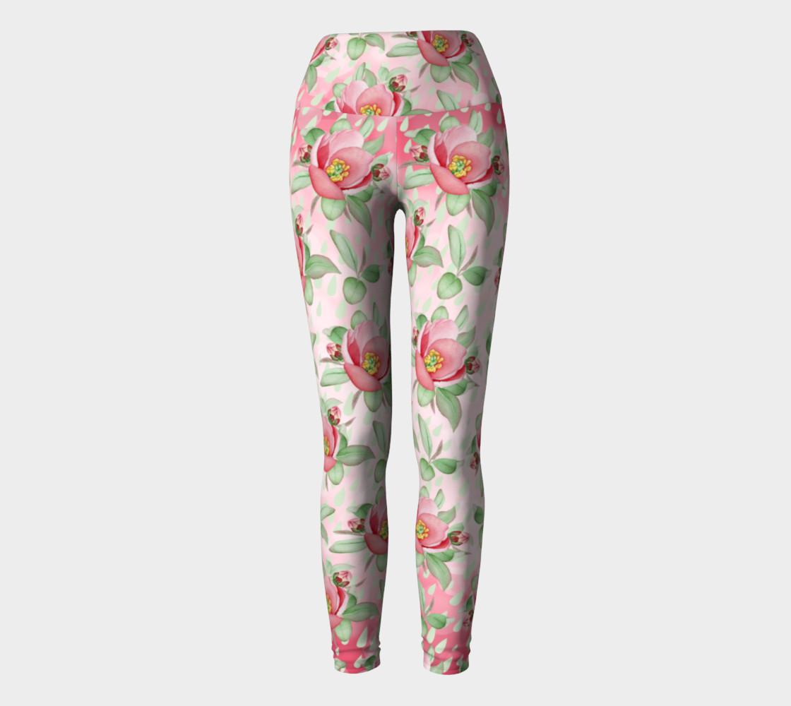 Aperçu de Bold Red Green Wild Rose Floral Yoga Leggings #2