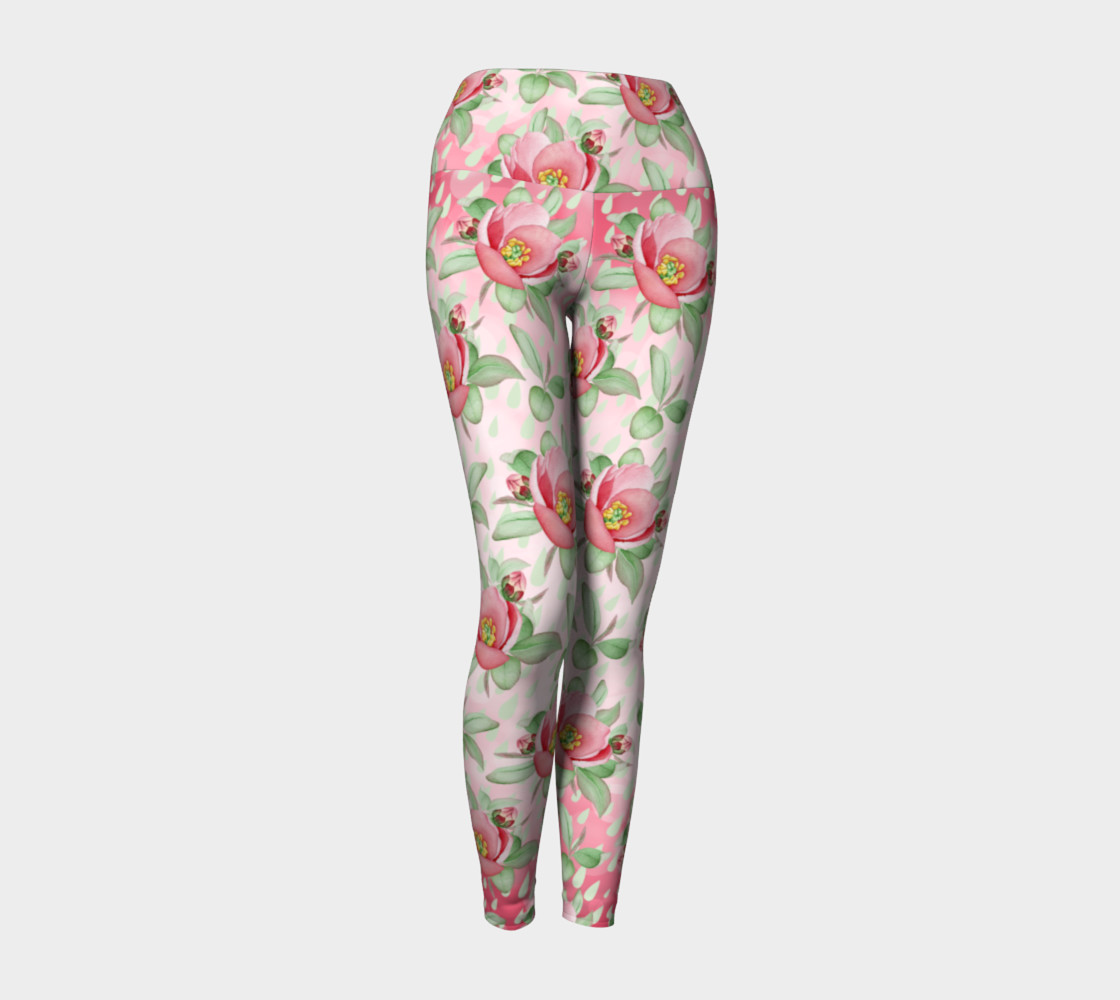 Bold Red Green Wild Rose Floral Yoga Leggings Miniature #2