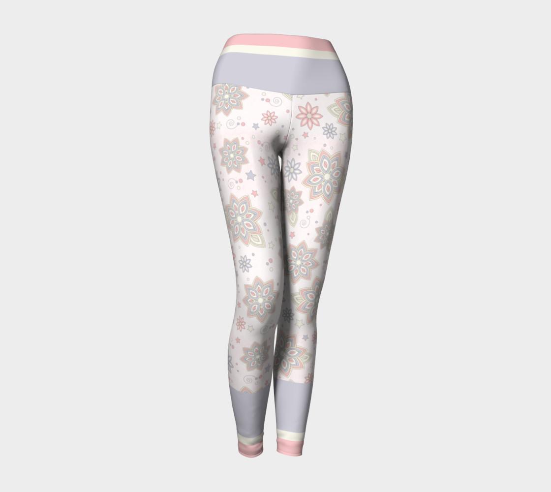 Aperçu de Pastel Pink Ivory Purple Abstract Flower Yoga Leggings #1