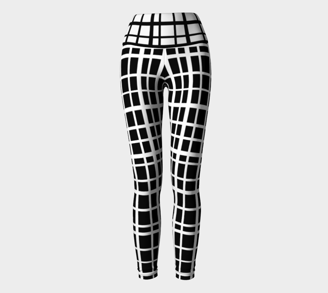 Miki Print--Yoga Leggings, Uneven Grid White on Black with Contrast Black on White Band preview #2