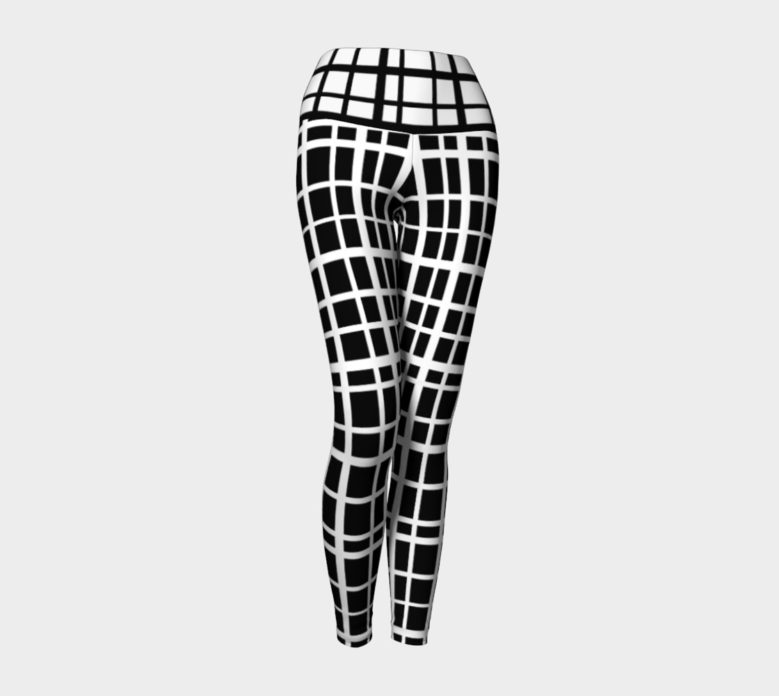 Miki Print--Yoga Leggings, Uneven Grid White on Black with Contrast Black on White Band preview #1