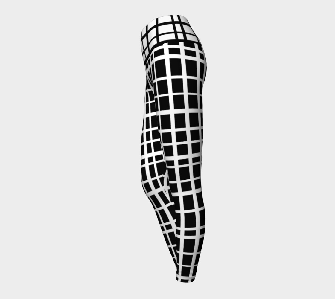 Miki Print--Yoga Leggings, Uneven Grid White on Black with Contrast Black on White Band preview #3