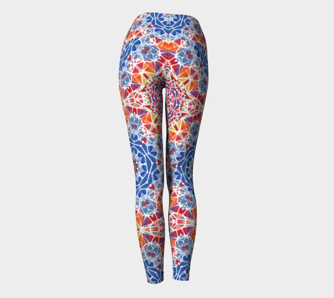 Blue and Orange Kaleidoscope Yoga Leggings preview #4