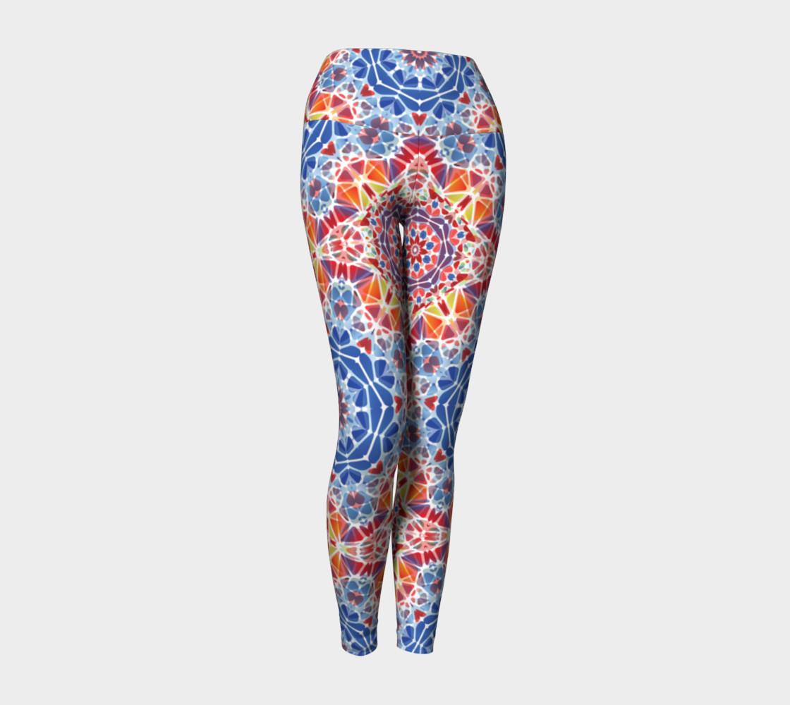 Blue and Orange Kaleidoscope Yoga Leggings preview #1