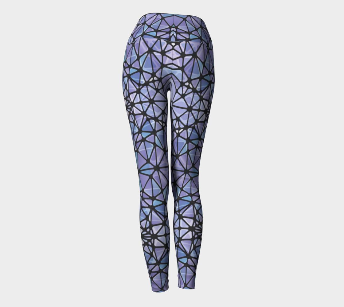Purple and Blue Kaleidoscope Yoga Leggings preview #4