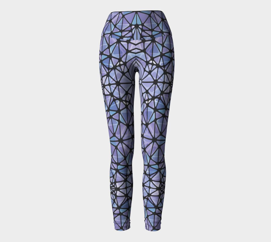 Purple and Blue Kaleidoscope Yoga Leggings preview #2