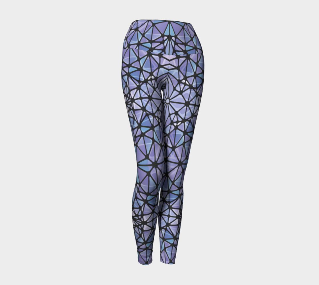 Purple and Blue Kaleidoscope Yoga Leggings preview #1