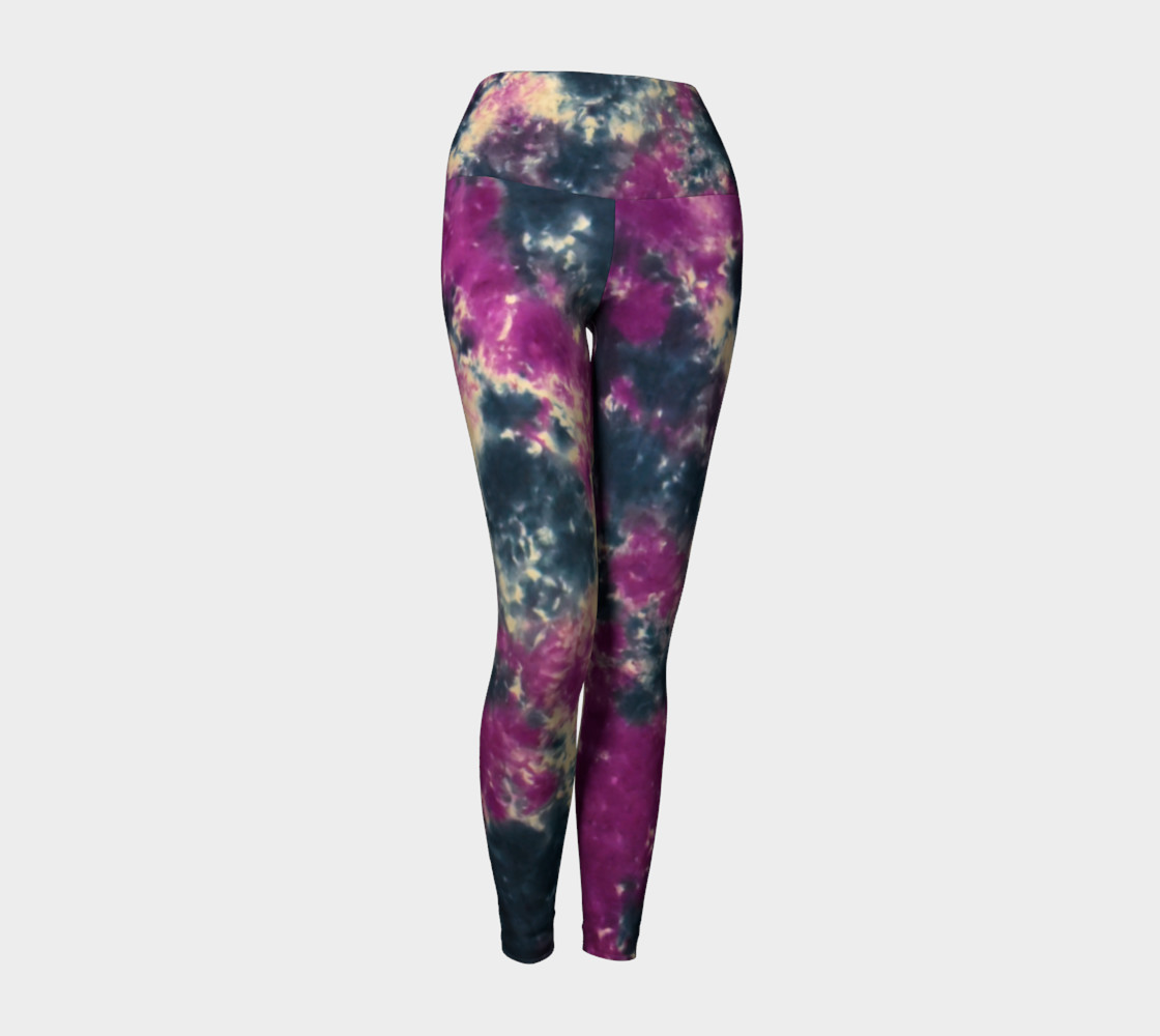Blue Purple Scrunch Yoga Leggings 3D preview