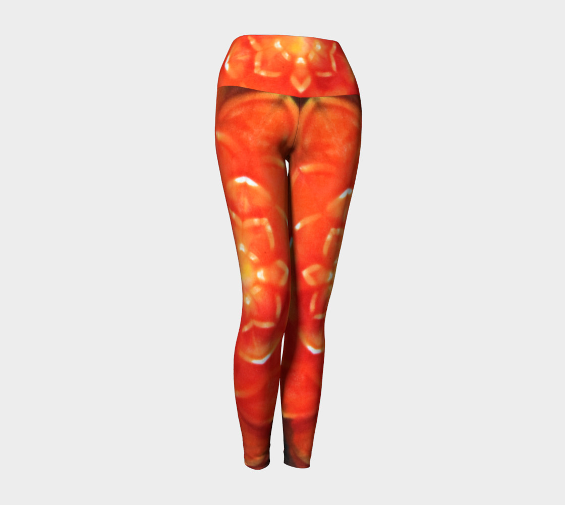 Orange Lotus Yoga Leggings 3D preview