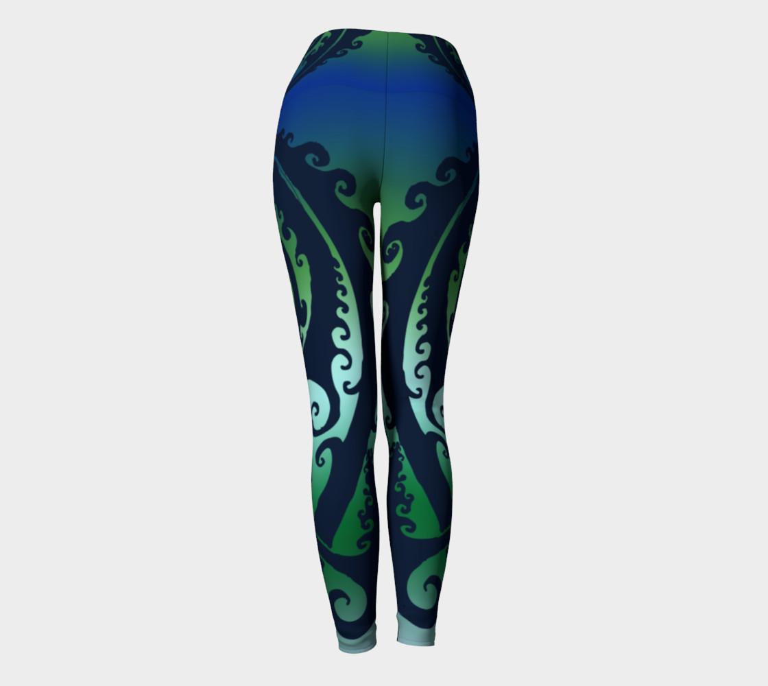 Aperçu de North Atlantic - Blue Green Ombre - Traditional Celtic Spiral Yoga Raver Pants #4