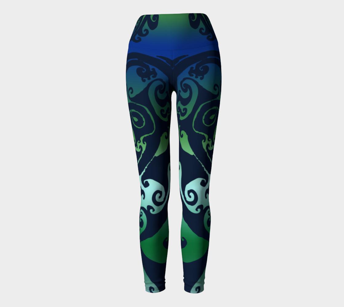 Aperçu de North Atlantic - Blue Green Ombre - Traditional Celtic Spiral Yoga Raver Pants #2