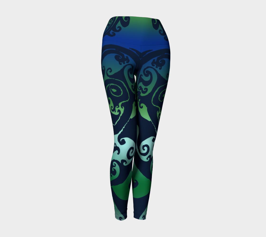 Aperçu de North Atlantic - Blue Green Ombre - Traditional Celtic Spiral Yoga Raver Pants #1