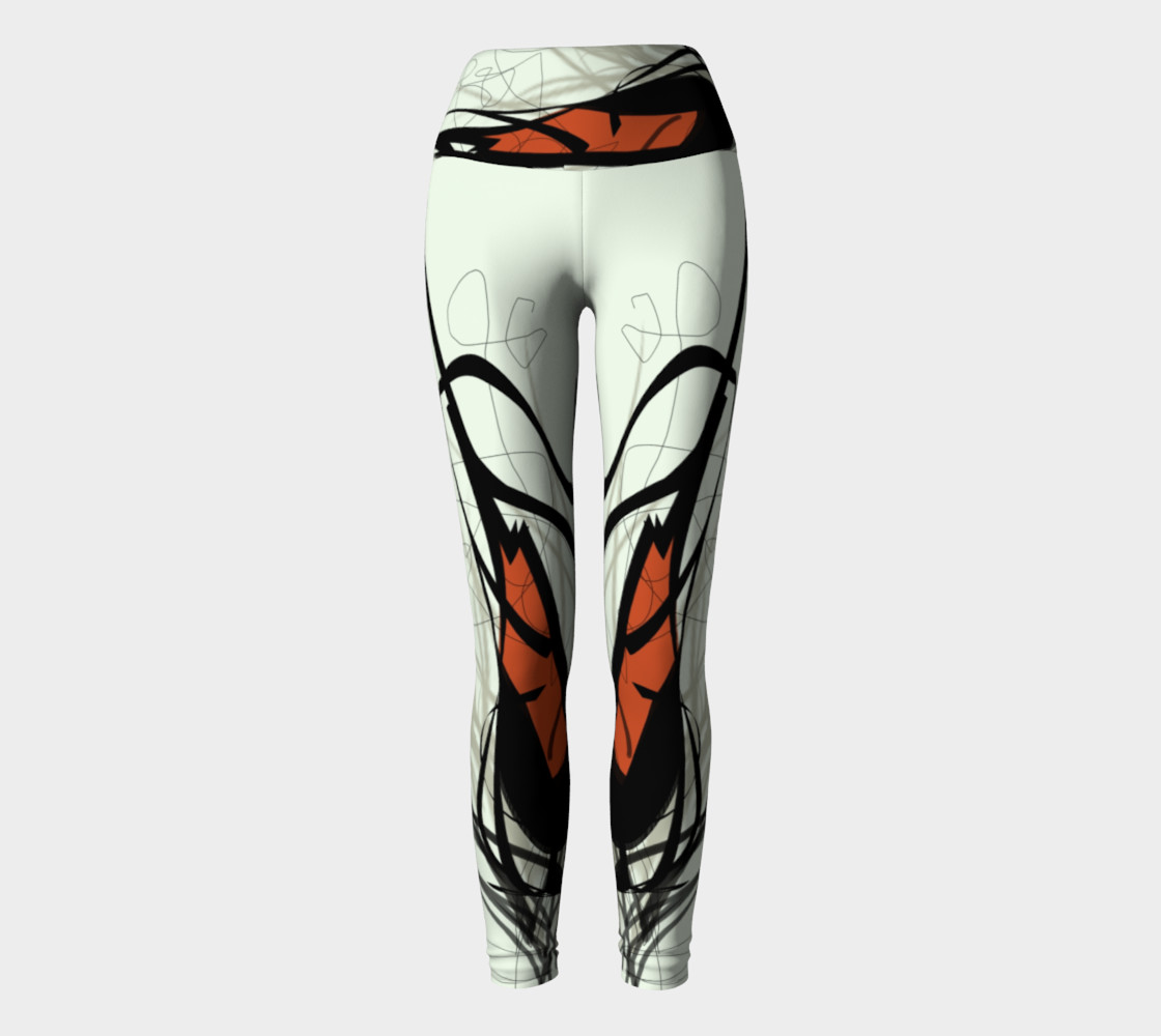 Abstract Calligraphy Oneness Yoga Pants preview #2