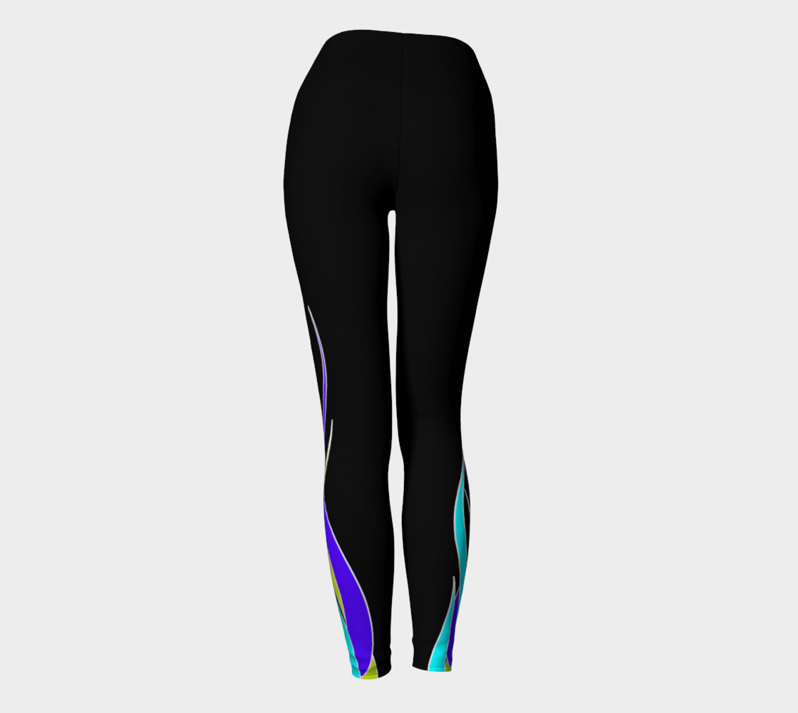 Blue Flame Yoga Leggings preview #4