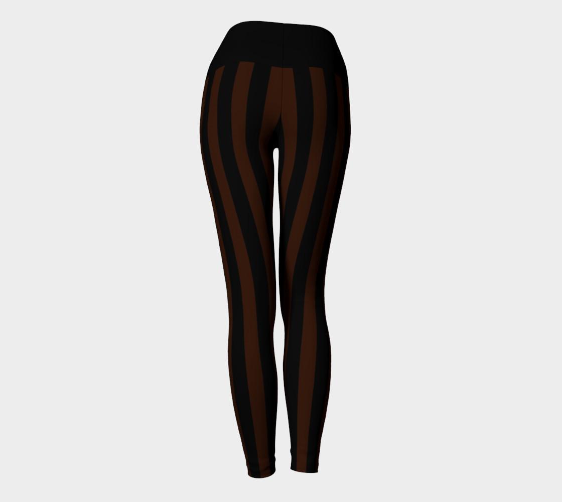 Black & Brown Stripe Yoga Leggings preview #4