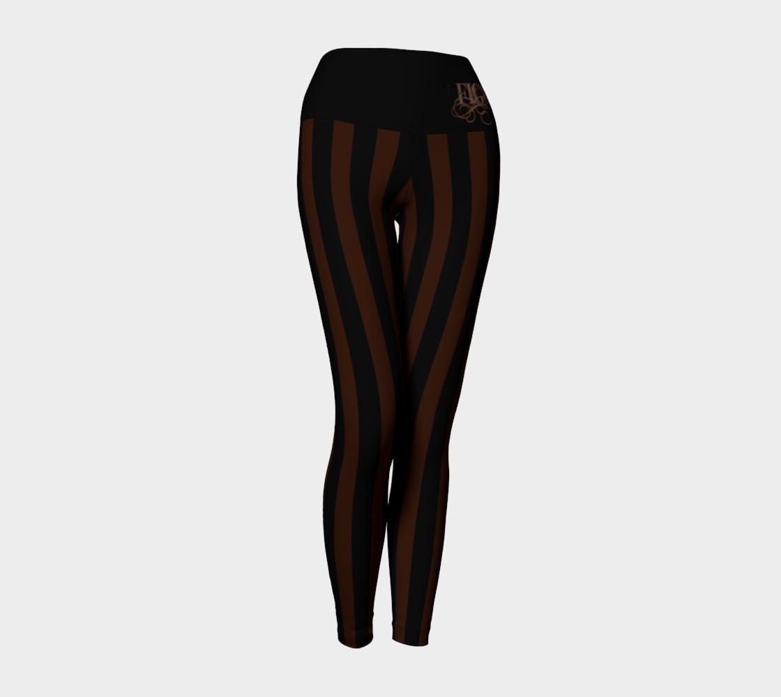 Black & Brown Stripe Yoga Leggings preview #1