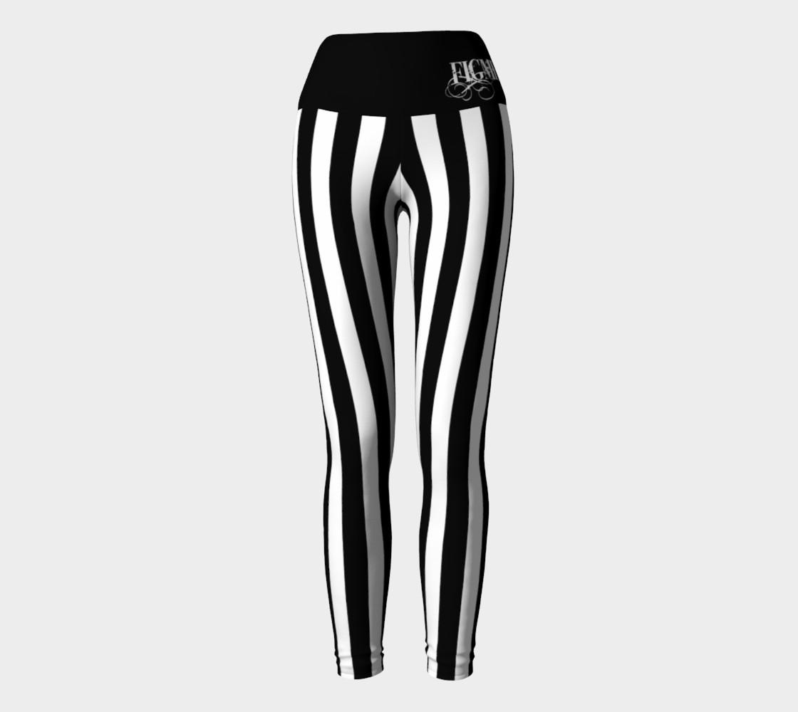 Black & White Stripe Yoga Leggings preview #2