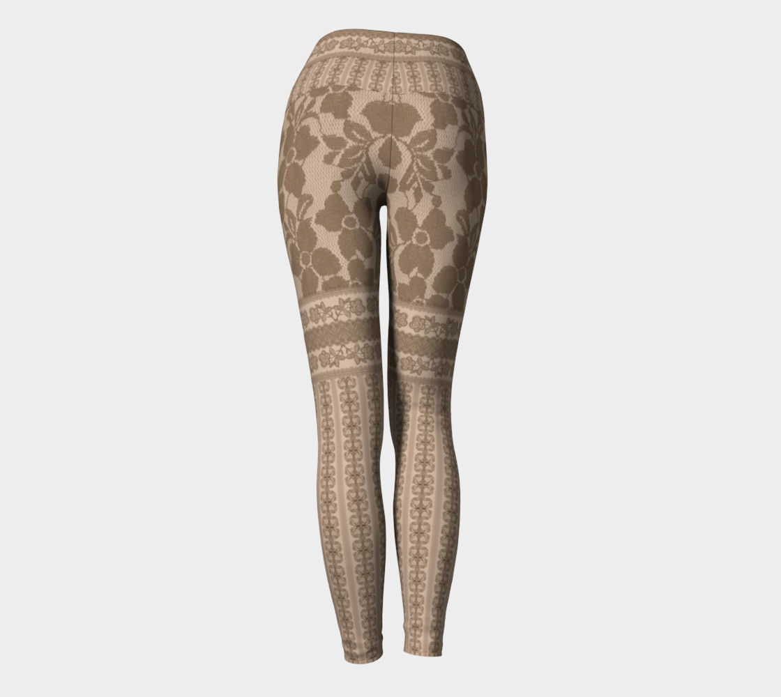 Brown Lace Yoga Leggings preview #4