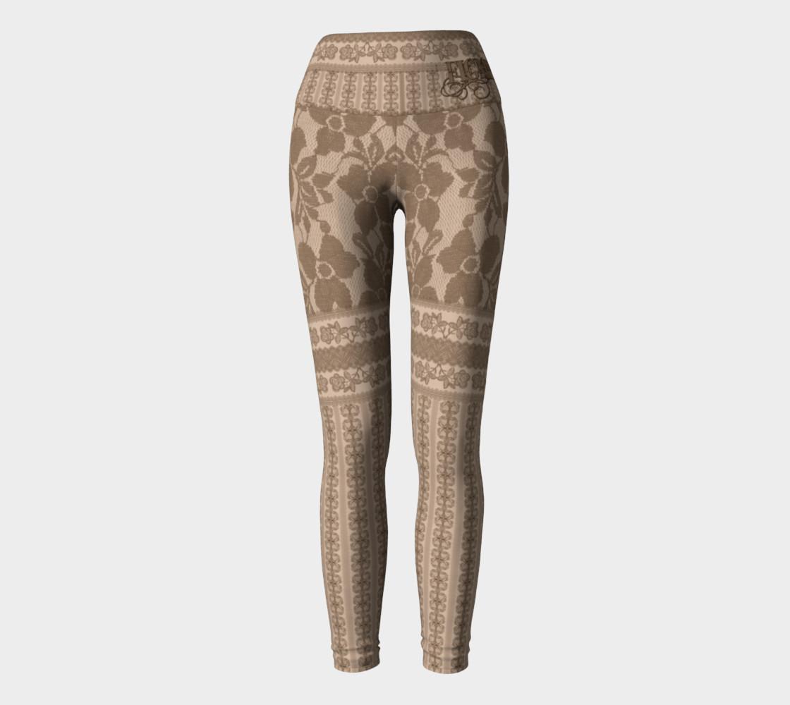 Brown Lace Yoga Leggings preview #2