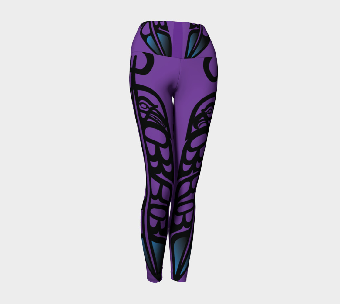 Black Raven & Eagle Feathers on Purple, by Mia Hunt preview #1