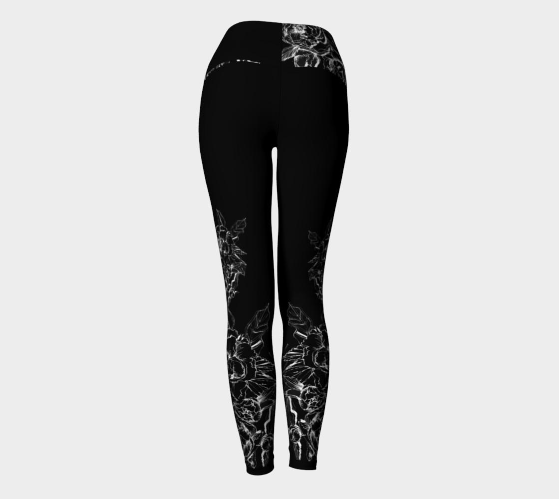 Aperçu de Black Peonies  yoga leggings #4