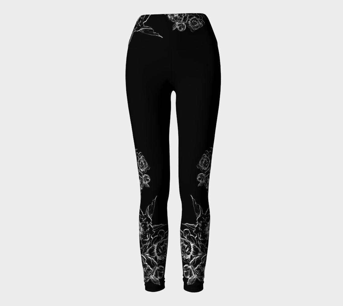 Aperçu de Black Peonies  yoga leggings #2