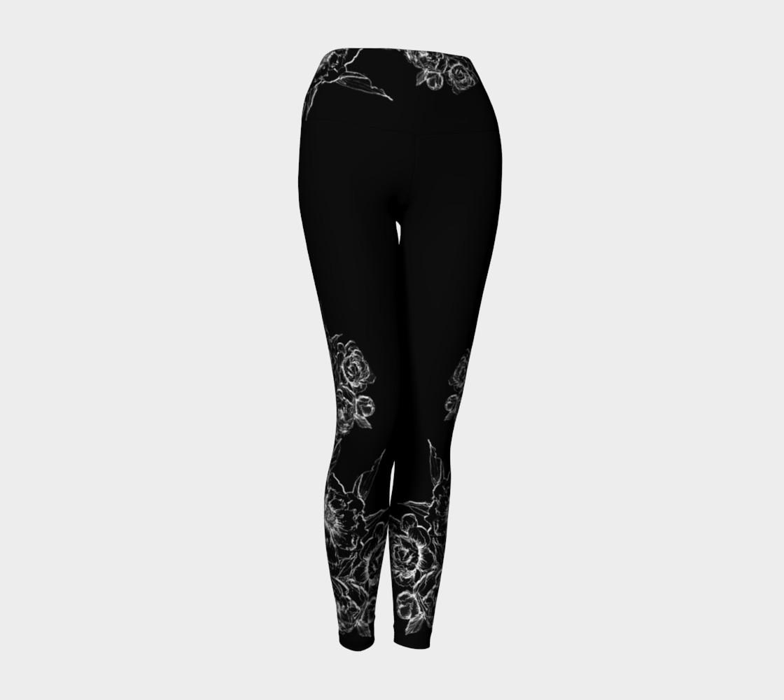 Aperçu de Black Peonies  yoga leggings #1