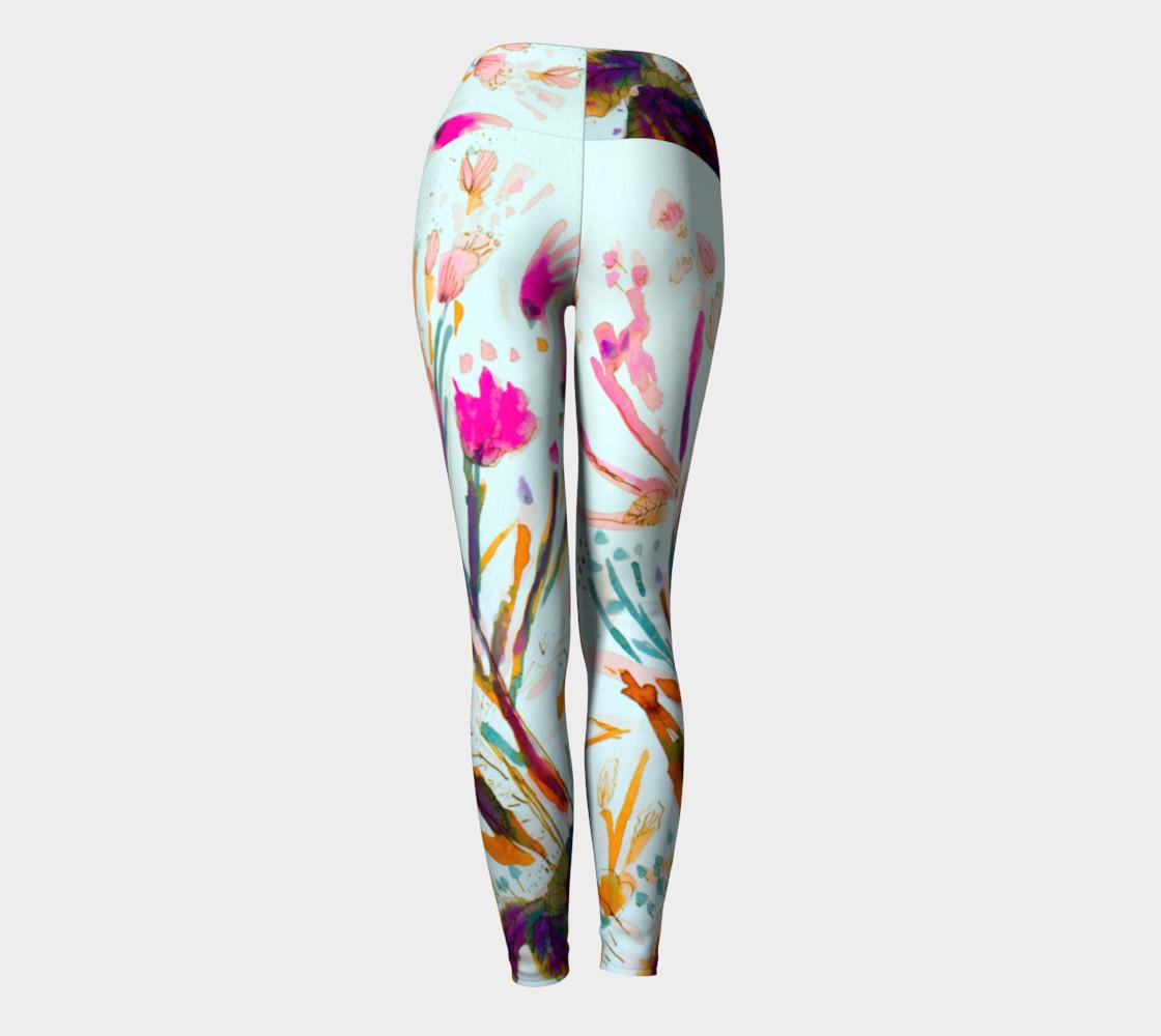 Pink Sea Weeds  yoga leggings preview #4