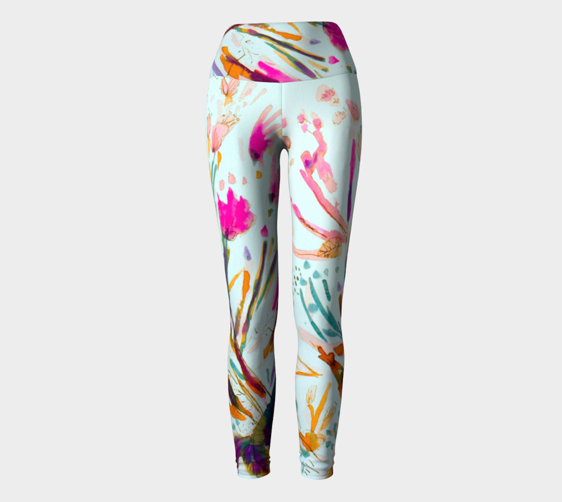 Pink Sea Weeds  yoga leggings preview #2