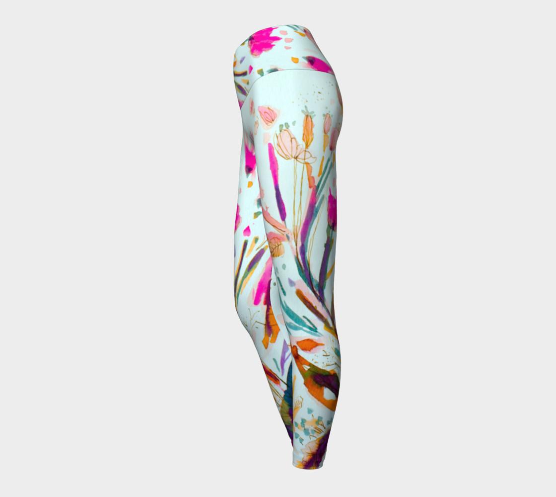 Pink Sea Weeds  yoga leggings preview #3