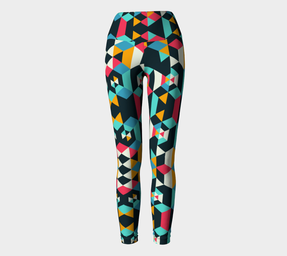 Modern Colorful Geometric Yoga Leggings preview #2