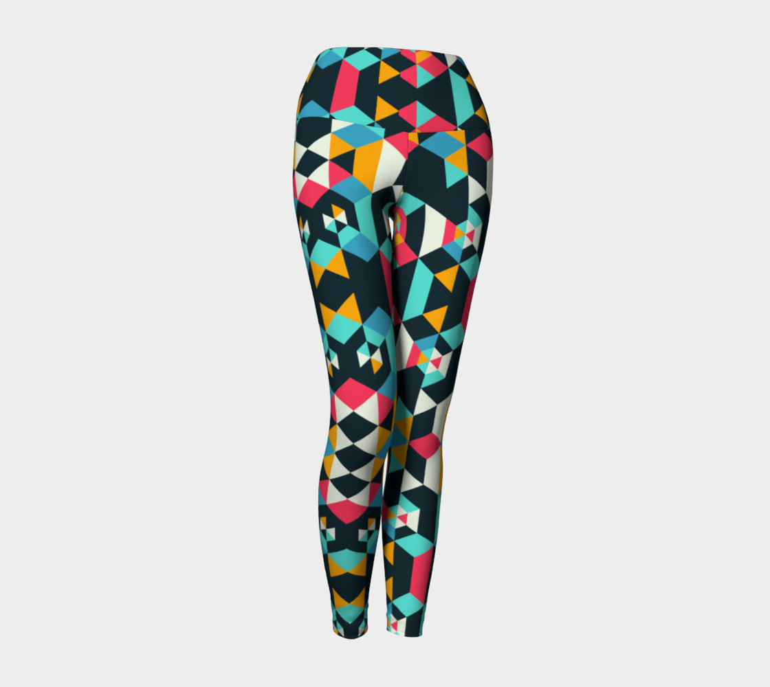 Modern Colorful Geometric Yoga Leggings preview #1