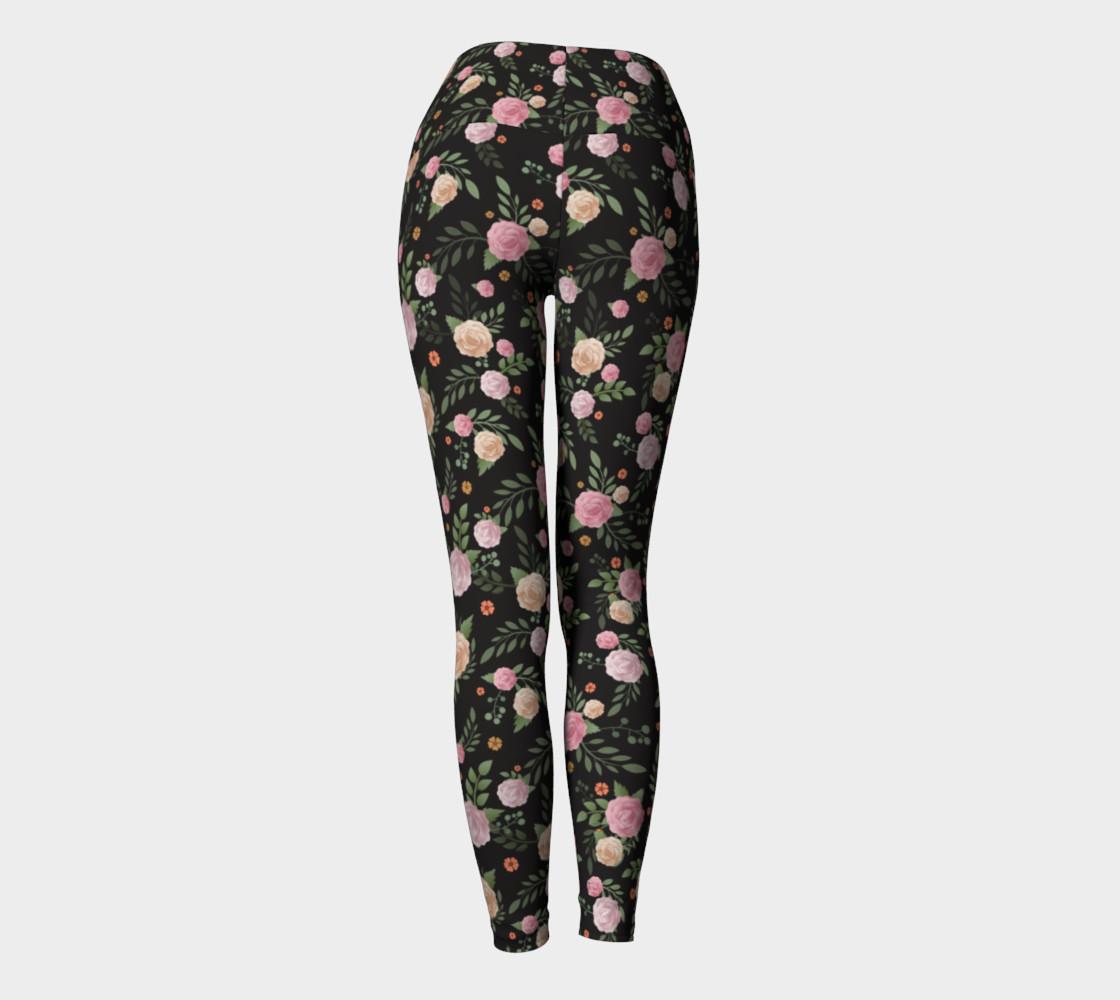 Black Floral Yoga Leggings preview #4