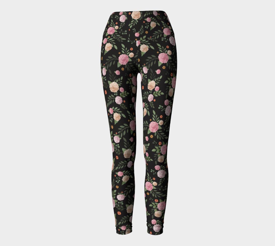 Black Floral Yoga Leggings preview #2