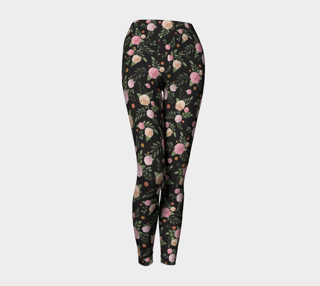 Black Floral Yoga Leggings preview #1