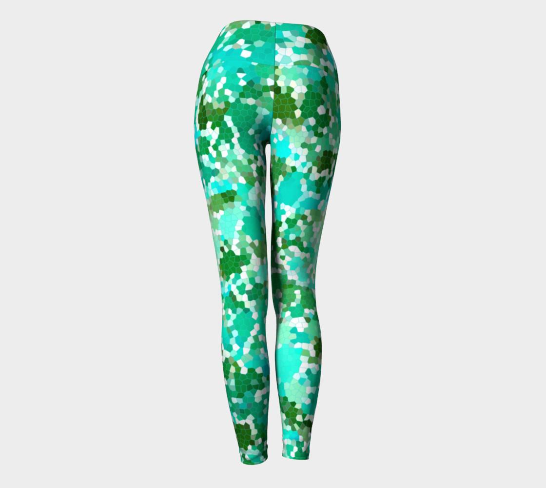 Green Geometric Yoga Leggings