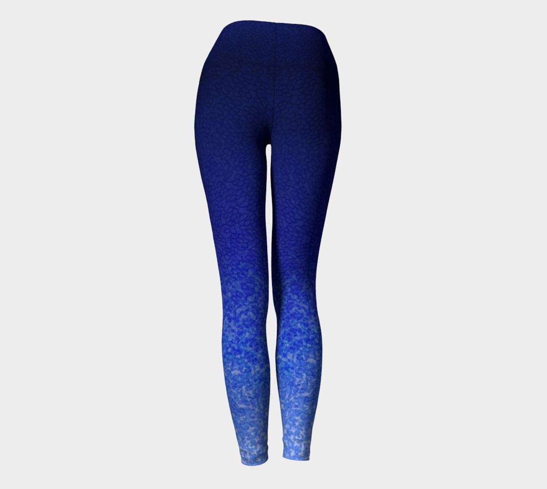 Blue Watercolor & Lace Speckle Pattern Leggings preview #4