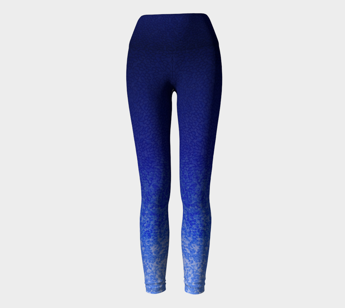 Blue Watercolor & Lace Speckle Pattern Leggings preview #2