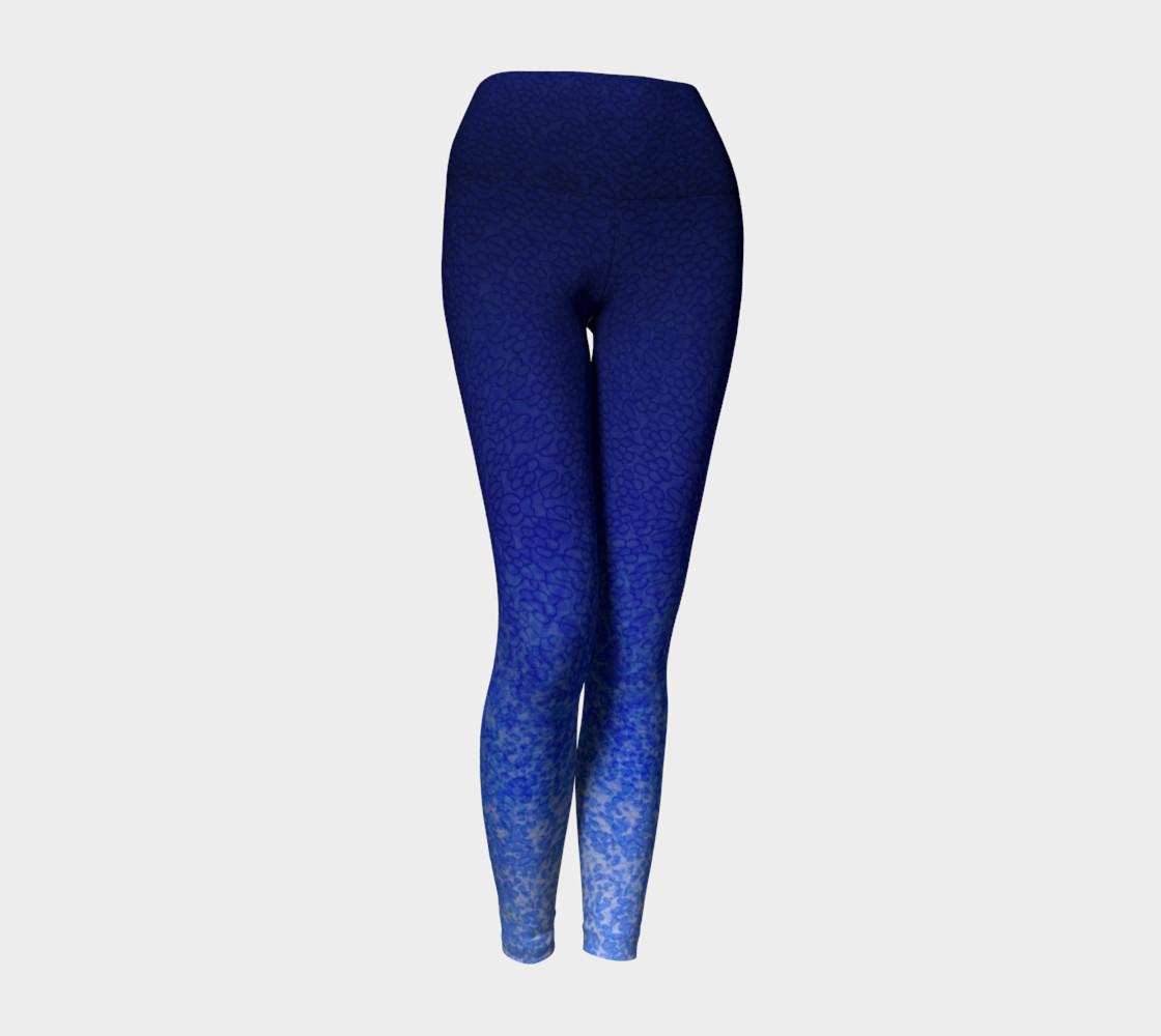 Blue Watercolor & Lace Speckle Pattern Leggings preview #1