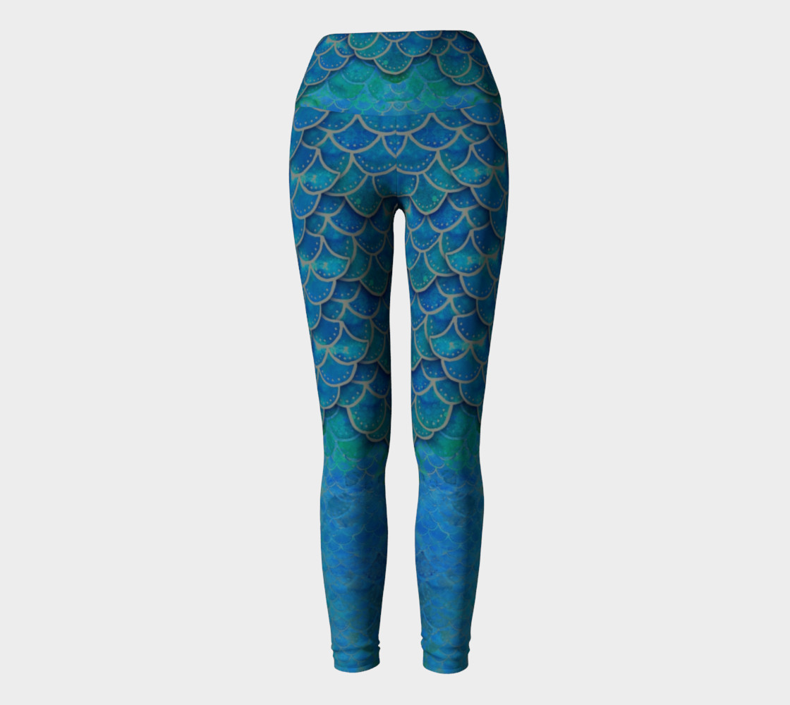 Mermaid Dragon Scale Yoga Pants No.6 preview #2
