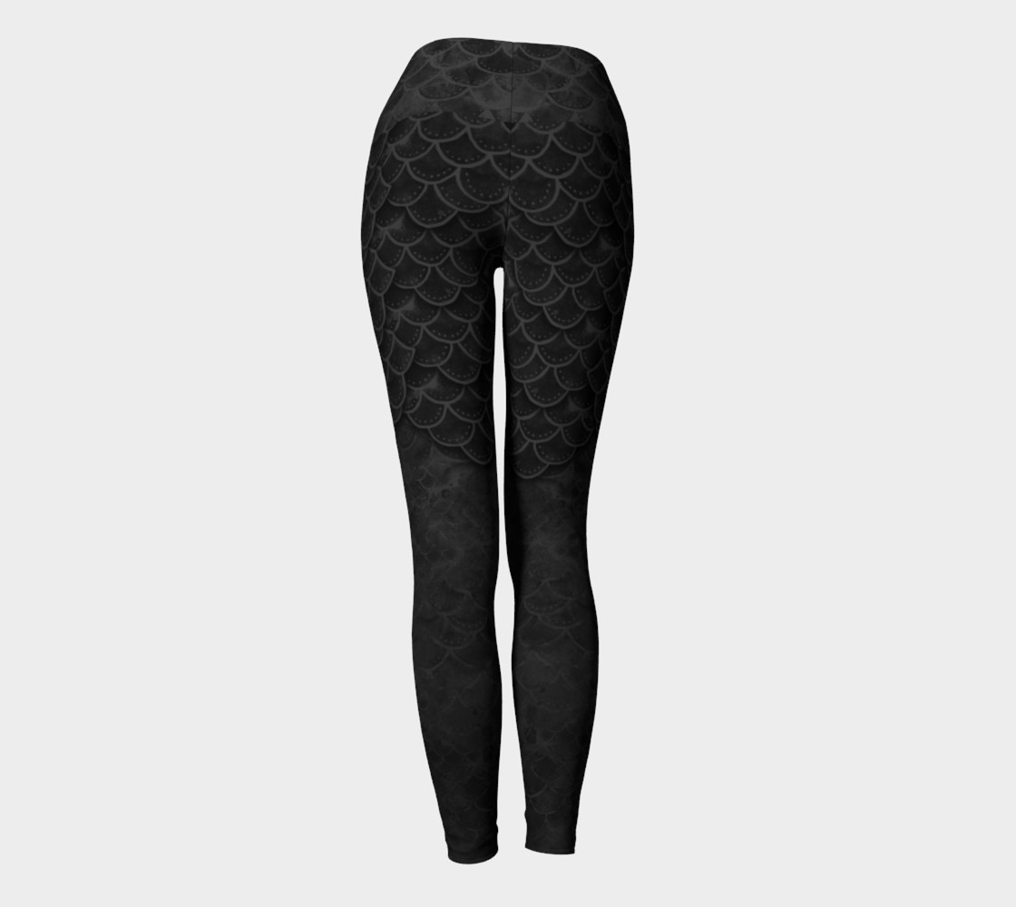 Handpainted Gothic Mermaid Scales Yoga Pants preview #4