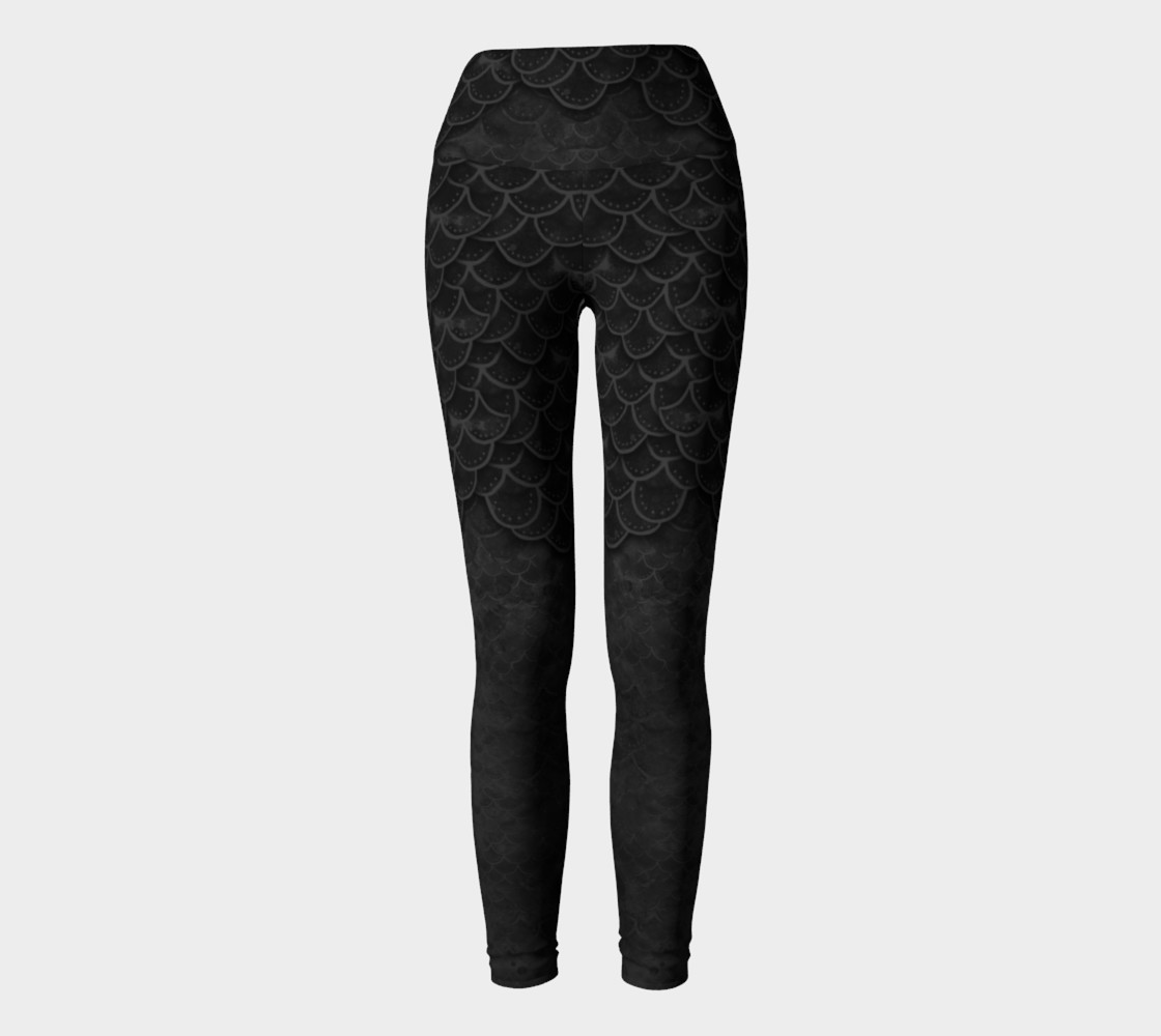 Handpainted Gothic Mermaid Scales Yoga Pants preview #2