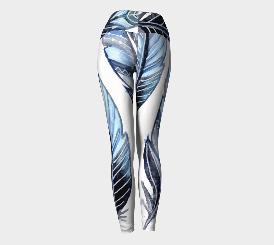 Blue Tribal Feather Yoga Pants preview #4