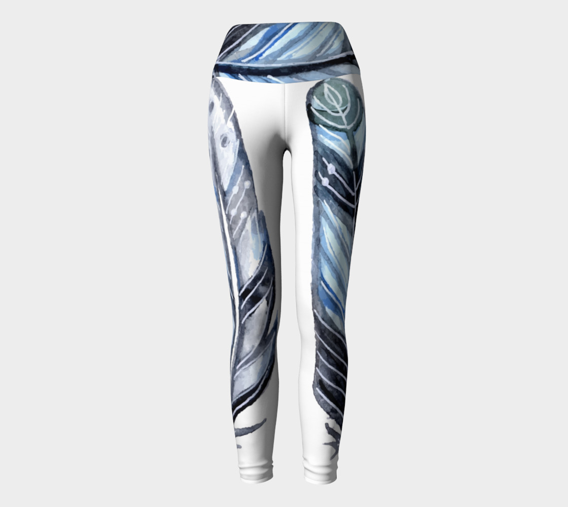 Blue Tribal Feather Yoga Pants preview #2
