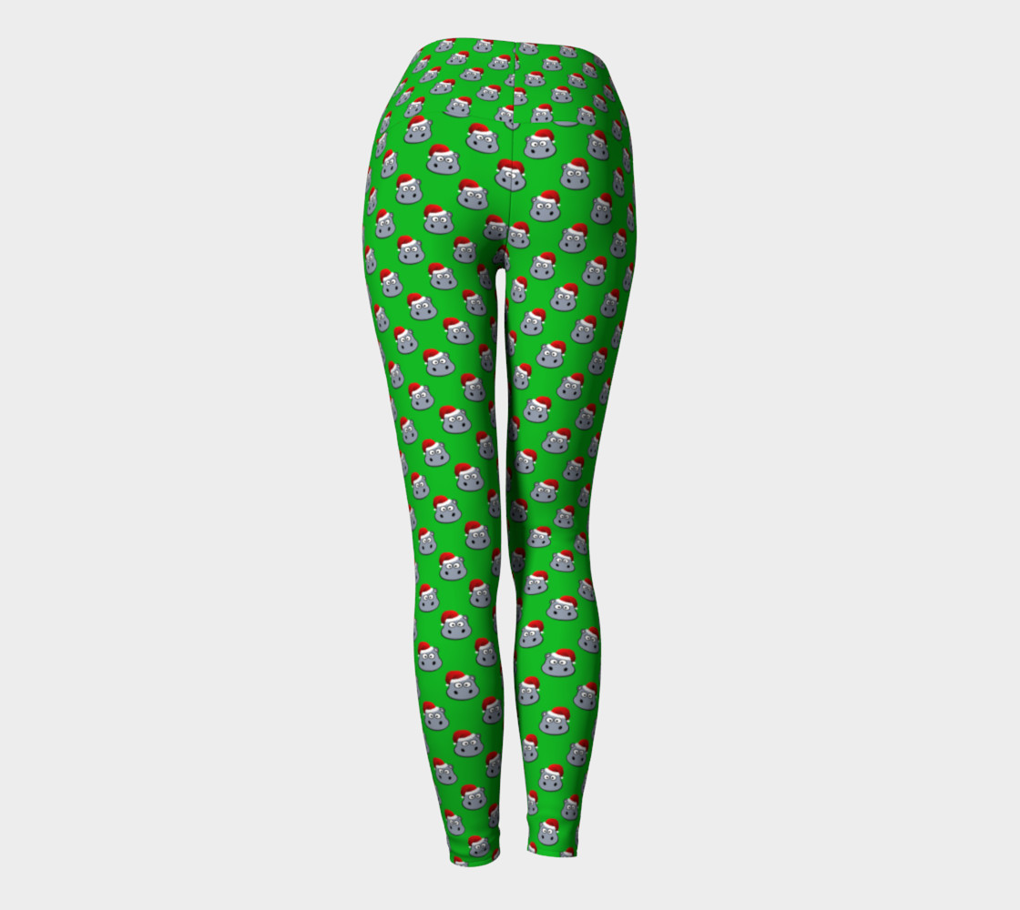 Santa Hippo-Green Yoga Leggings preview #4