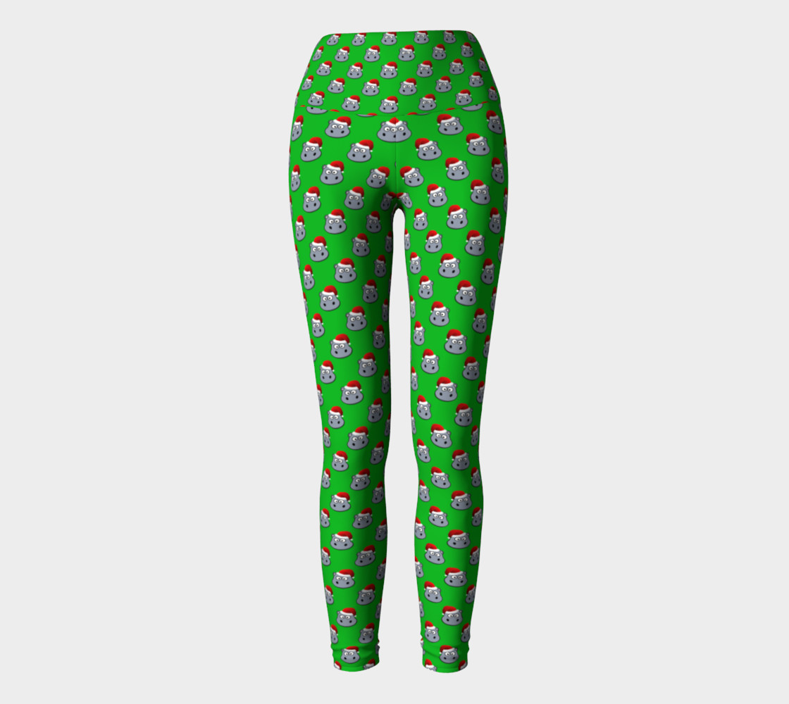 Santa Hippo-Green Yoga Leggings preview #2