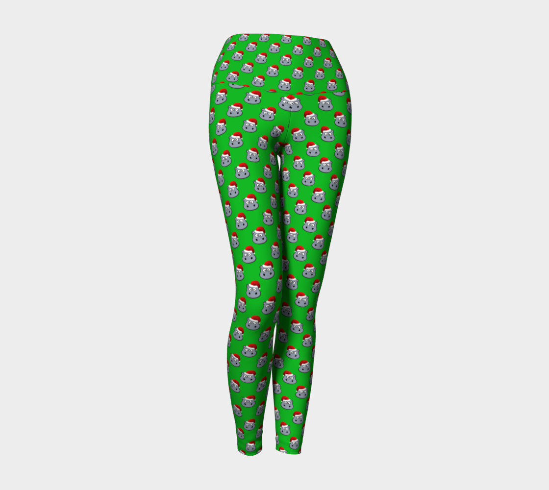 Santa Hippo-Green Yoga Leggings preview #1