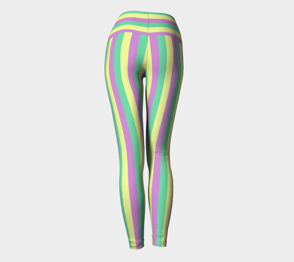 Mardi Gras Yoga Leggings- Stripes (Adult) preview #4