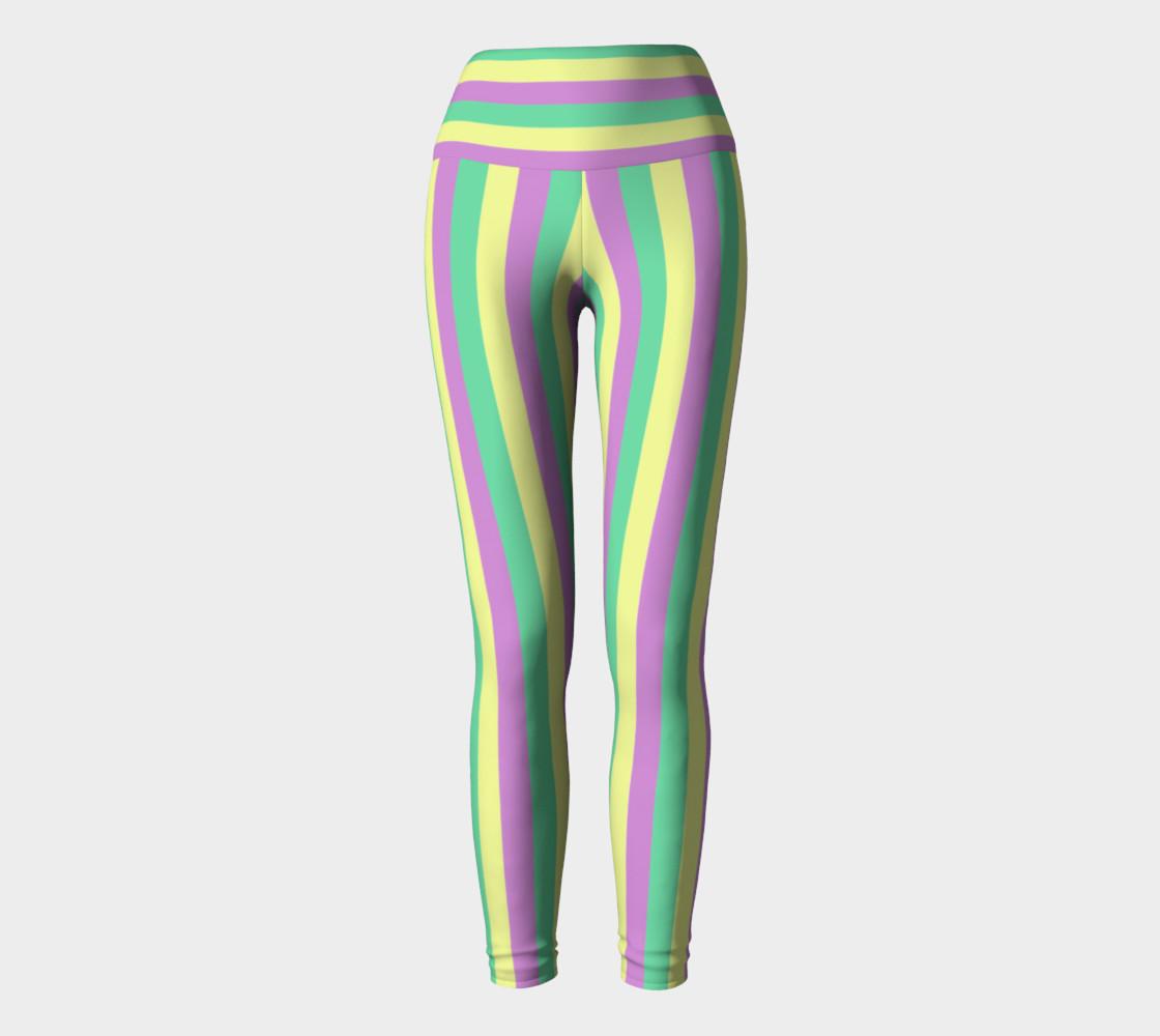 Mardi Gras Yoga Leggings- Stripes (Adult) preview #2